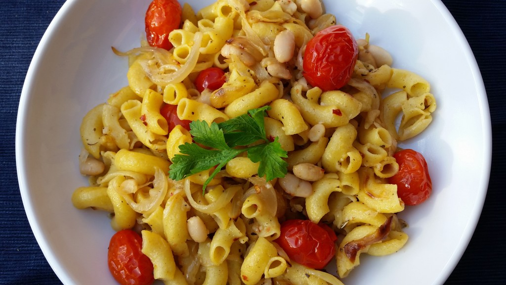 Spicy Pasta with White Beans, Caramelized Onions, and Roasted Tomatoes
