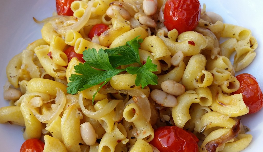 Spicy Pasta with Tomato and White Beans