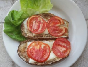 Open-Faced Breadless Eggplant Sandwiches<BR>(Vegan Option)