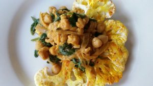 Indian Cauliflower Steaks with Spiced Chickpeas and Spinach