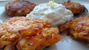 Carrot Latkes with Green Apple Sour Cream