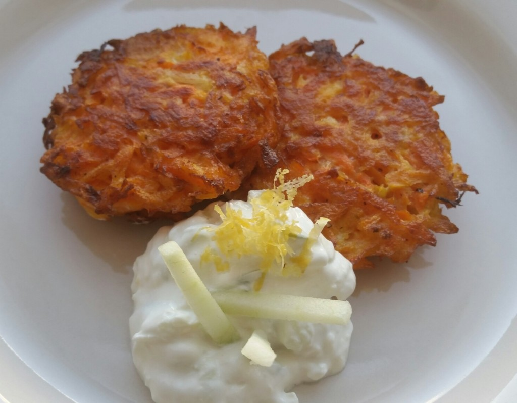Carrot Latkes with Apple Sour Cream
