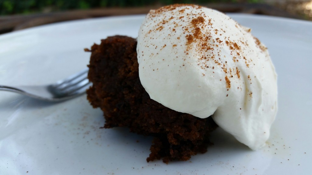 Coffee-Scented Gingerbread with Amaretto Cream