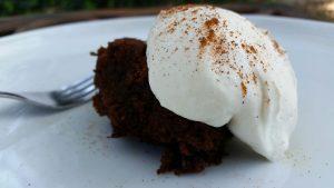 Coffee-Scented Gingerbread with Amaretto Cream