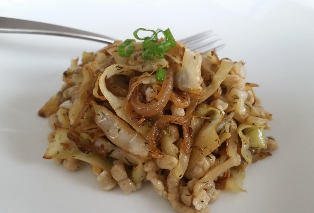 Spaetzle (With Caraway-Dill Cabbage and Onions!)