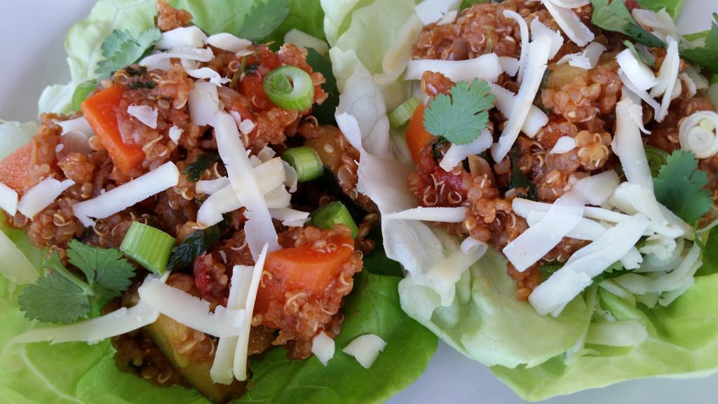 Quinoa-Vegetable Lettuce Wraps (Mexican-Style!)