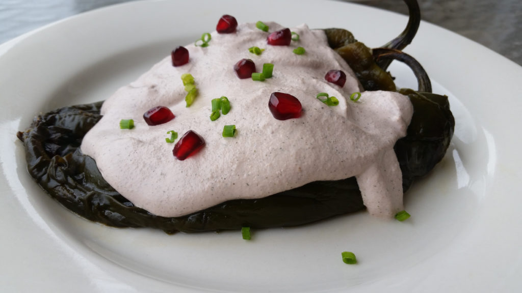 Chiles en Nogada (Stuffed Poblano Peppers with Walnut Sauce)