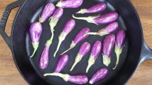 Pan-Grilling the Eggplant