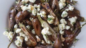Fairy tale eggplant with feta, tarragon, and honey