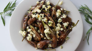 Pan-Grilled Fairy Tale Eggplant with Feta, Honey, and Tarragon