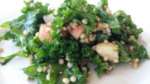 Sorghum & Kale Salad with Balsamic-Blue Cheese Vinaigrette