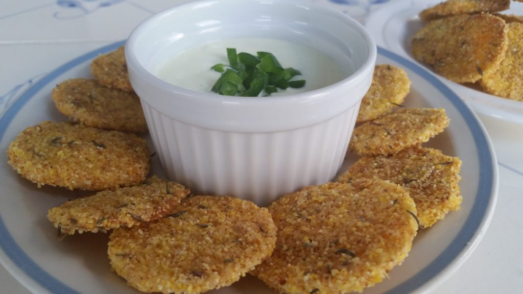 Cornmeal-Crusted Parsnips with Jalapeño-Feta Dip