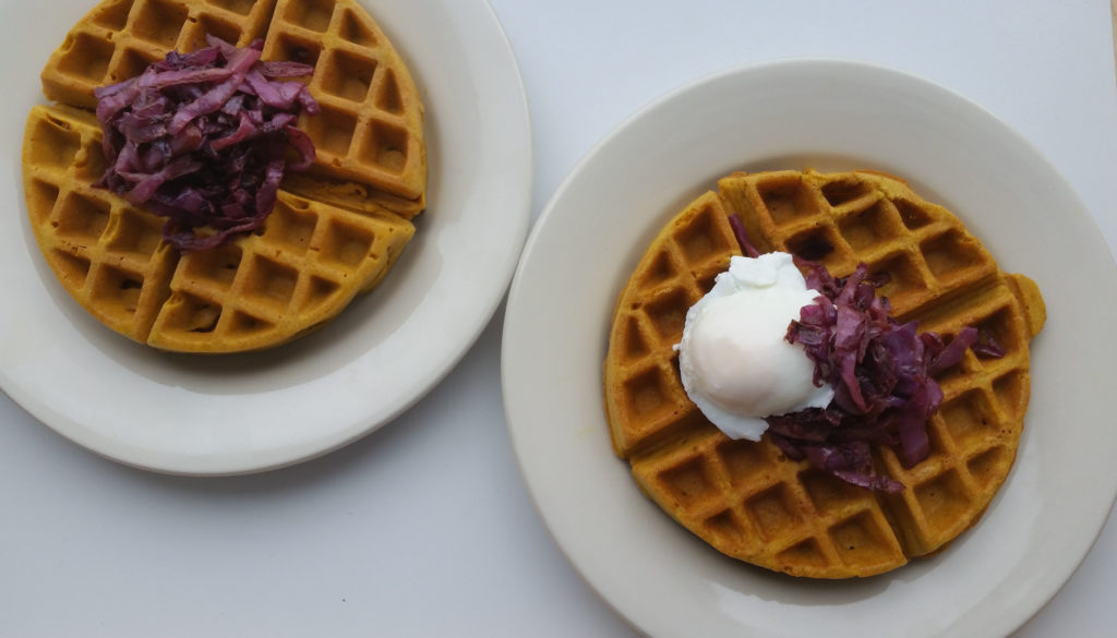 Savory Teff Waffles with Caramelized Cabbage