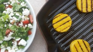 Grilled Polenta with Tomatillos, Cilantro, and Feta