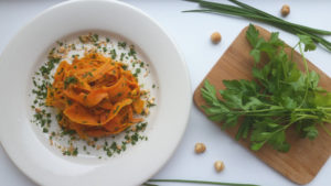 Carrot Pasta with Herbs and Hazelnuts